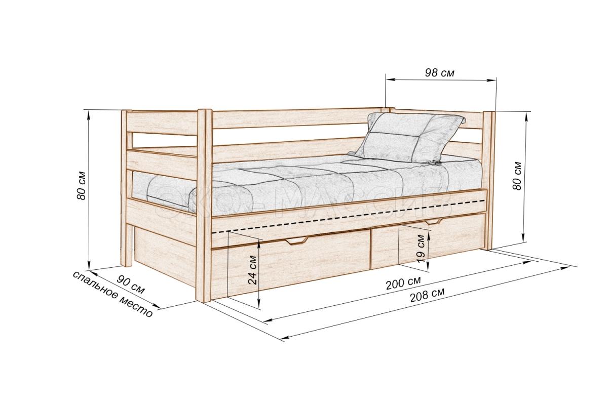 Чертежи кровати с ящиками своими руками чертежи 69